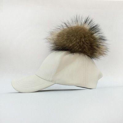 f9659e94e7d 2016 Fashion Real Raccoon Fur Pompoms Hats Hip Hop PU Leather Baseball Cap  women Fur Pom Pom Snapback Hat Caps