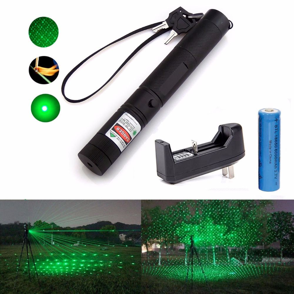 18650 battery Green 1mW 532nm Laser Pointer Pen Light Focus Beam Burn