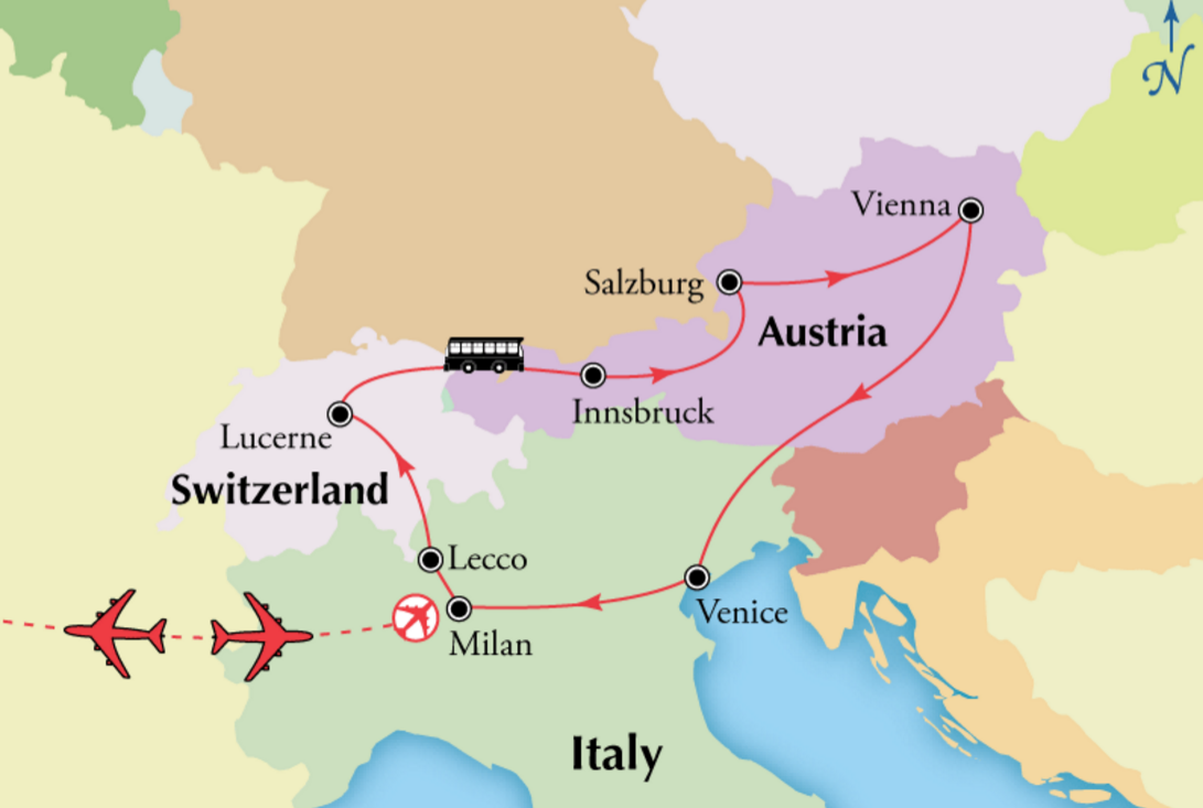 Map Of Northern Italy And Austria.Northern Italy Tour With Austria And Switzerland Where I Want To