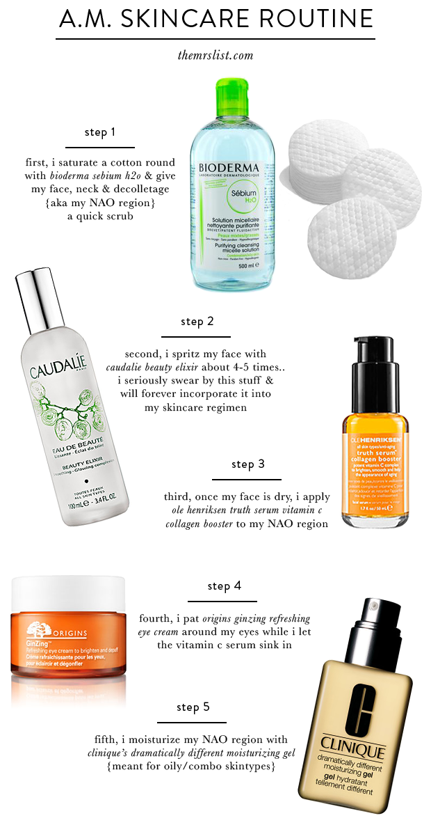 A M Skincare Routine The Mrs List Morning Skin Care Routine Sensitive Skin Care Skin Care Routine