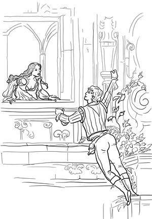 Click Romeo And Juliet Balcony Scene Coloring Page For Printable