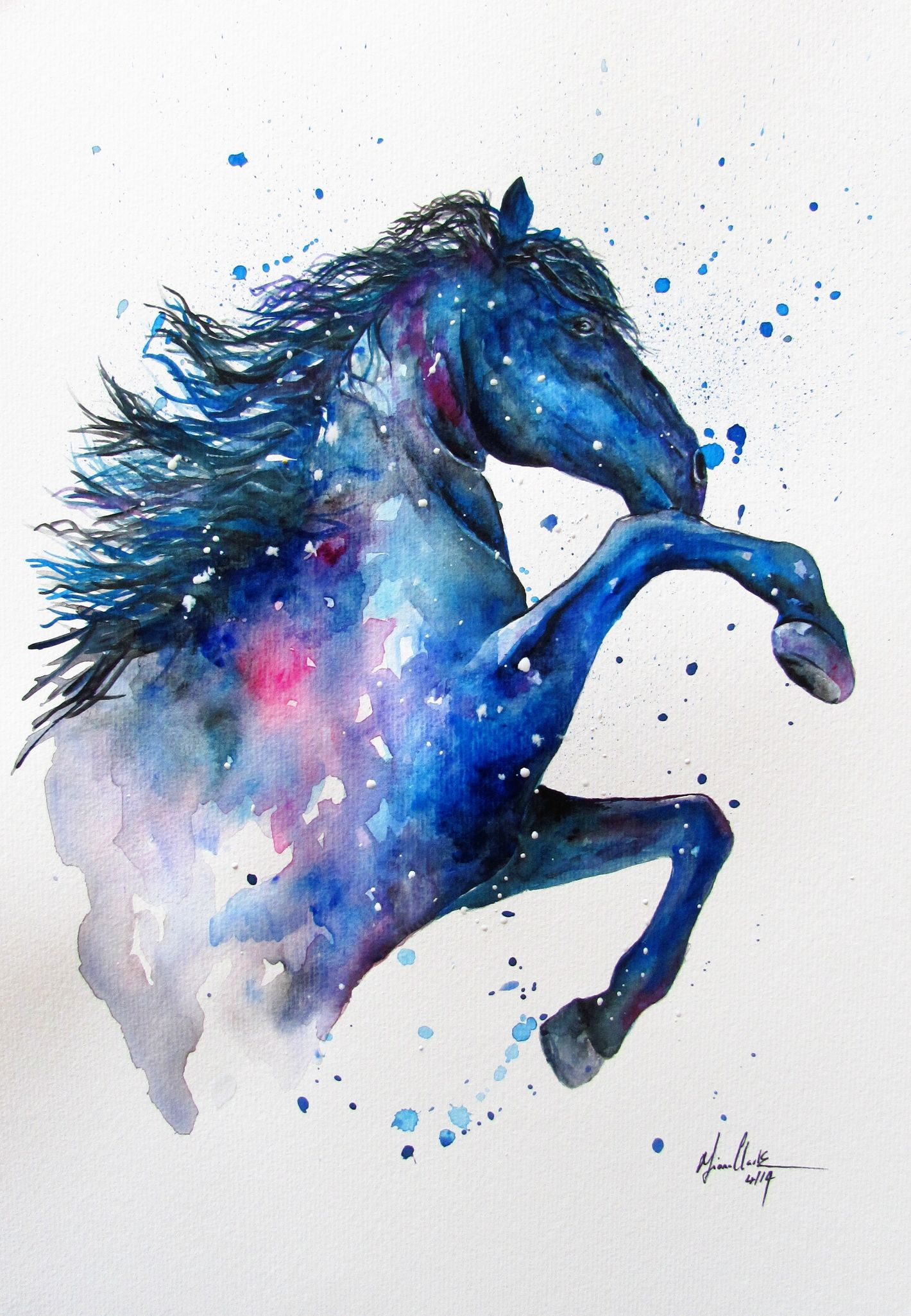 e0860ef2b94e0 Rearing Horse watercolour watercolor abstract