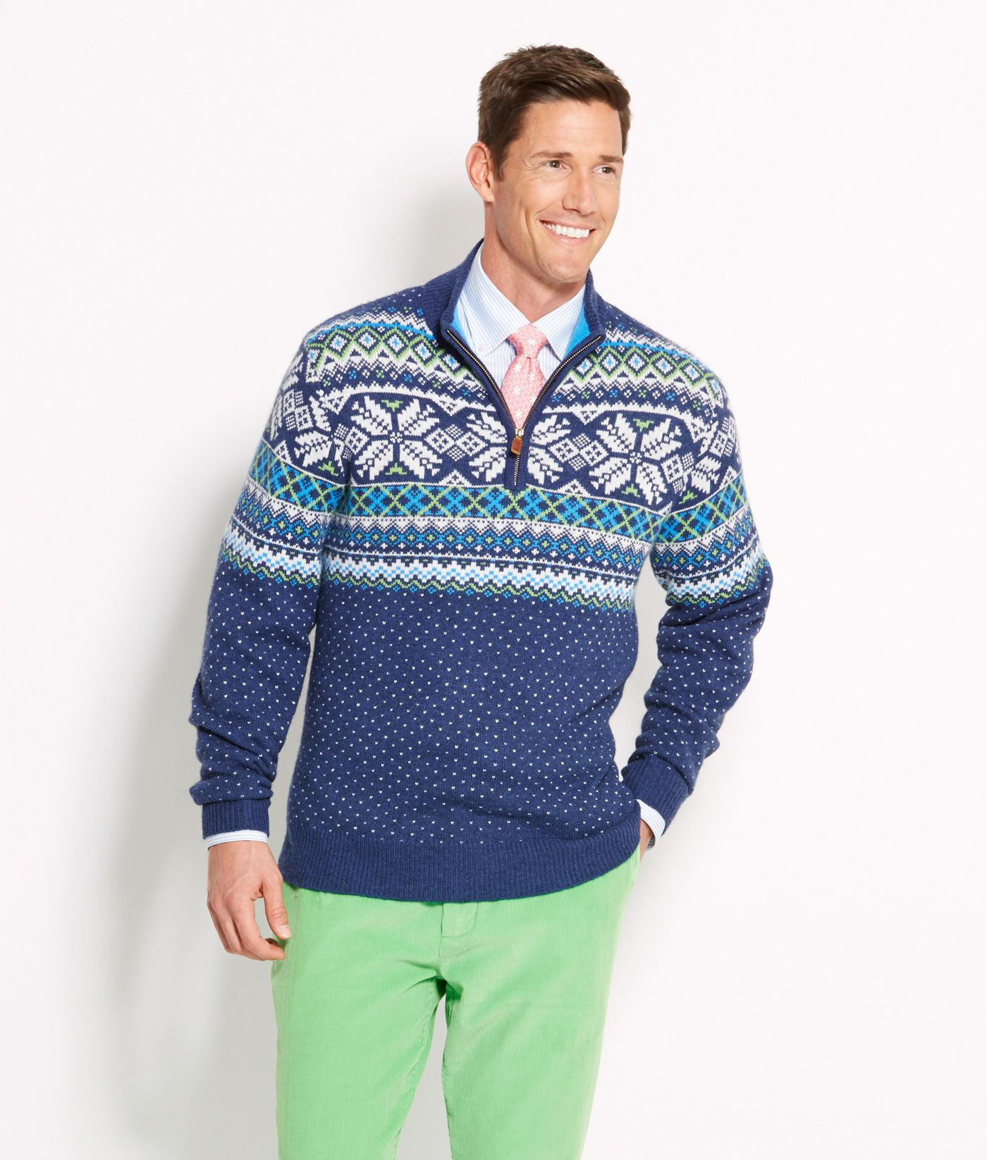 Shop Neon Fair Isle 1/4-Zip Sweater at vineyard vines | Style ...