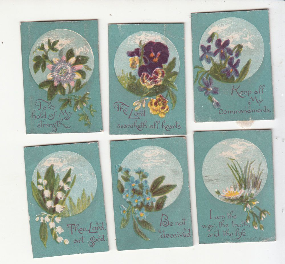 6 mini blue flowers w sayings religious victorian card c 1880s 6 mini blue flowers w sayings religious victorian card c 1880s m4hsunfo