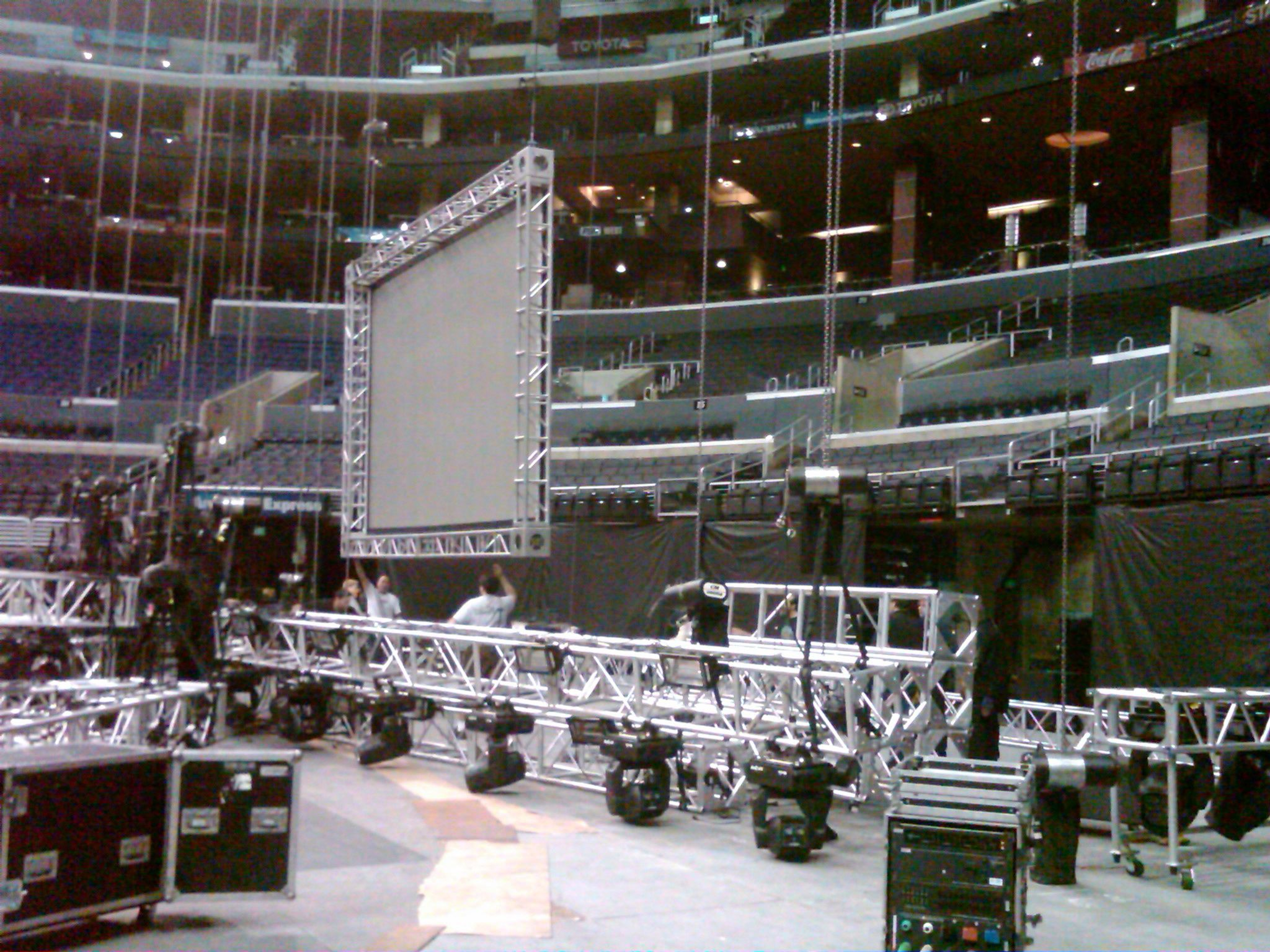 Another view of part of the truss rig and the center screen