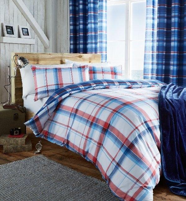 St Ives Check Blue Duvet Cover Set Double