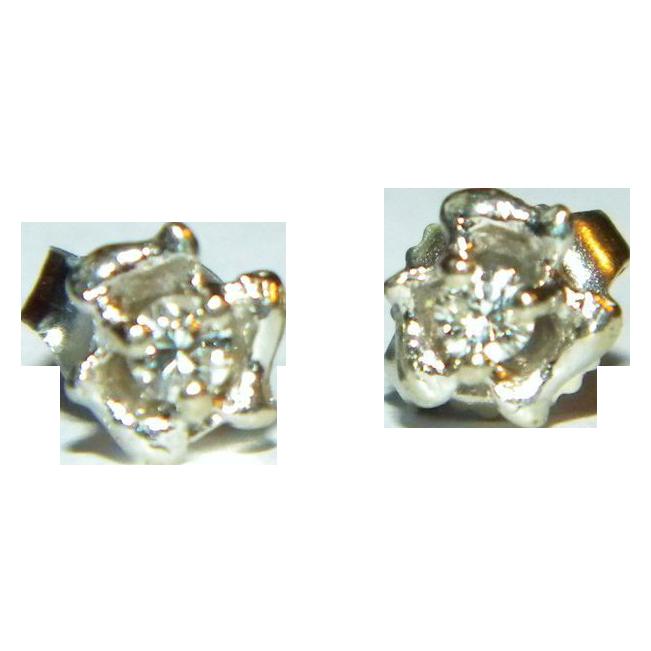 Vintage 14k WG Diamond Flower Buttercup Stud Earrings, .10 CTW