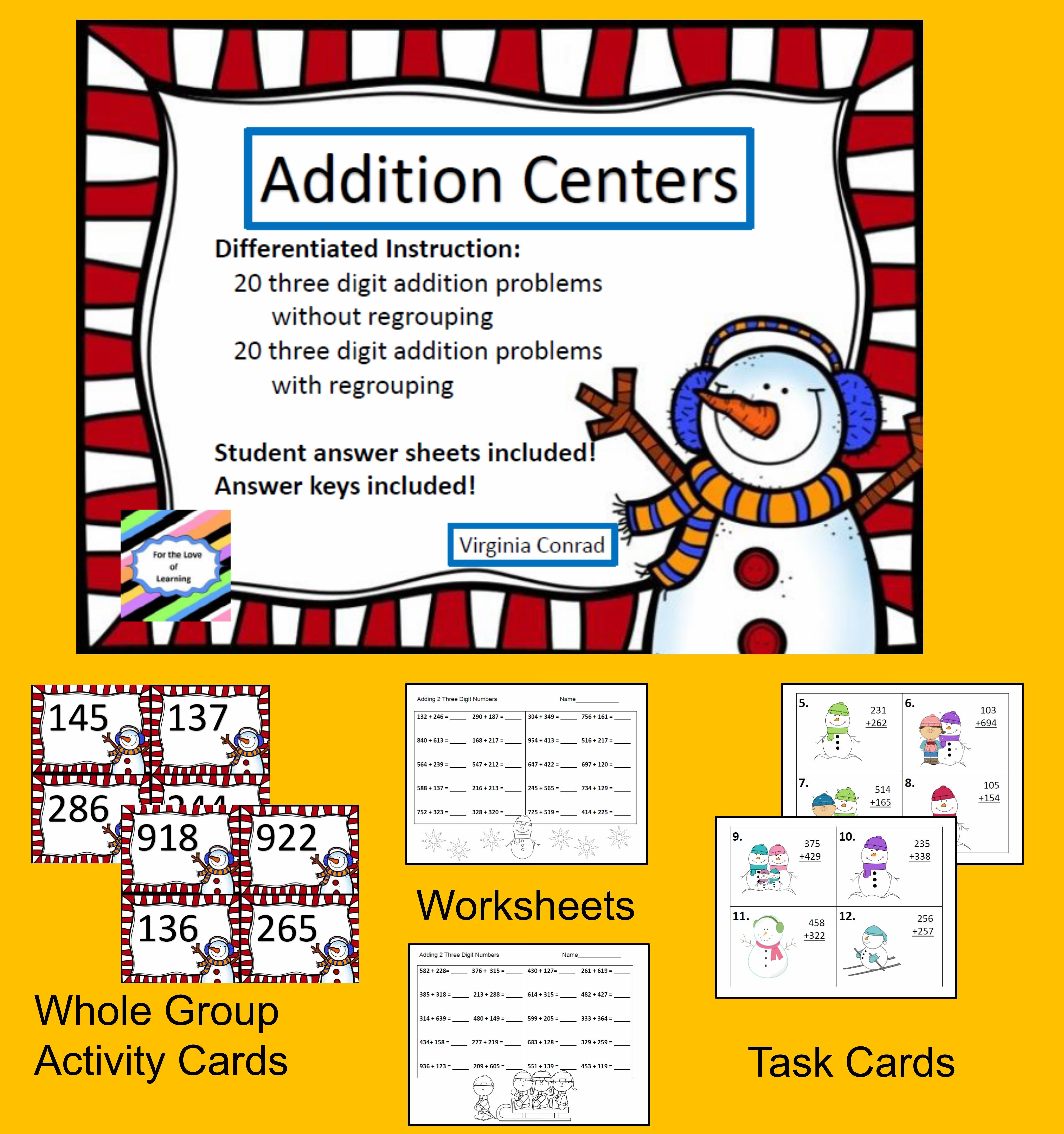 Adding 3 Digit Numbers With And Without Regrouping Snowman Theme