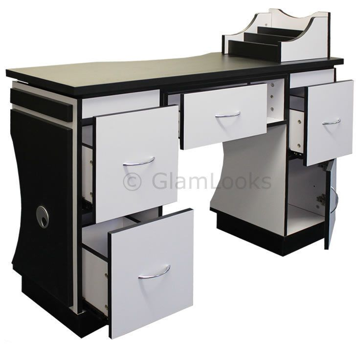 Ascot nail technicians table desk beauty station for salon for Nail salon table