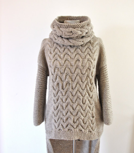 Sweater Cardigan Cowl Sweater Jacket Coat Tunic Chunky Hand Knit ...
