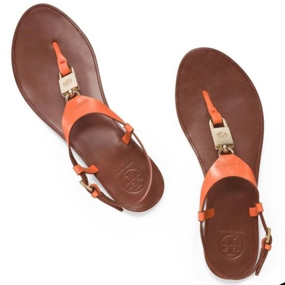 19f25ba32d0 NWT Tory Burch Padlock Flat Sandal NWT Tory Burch Padlock Flat Sandal in Equestrian  Orange-807. Veg Leather. 7. Brand new and in perfect condition.
