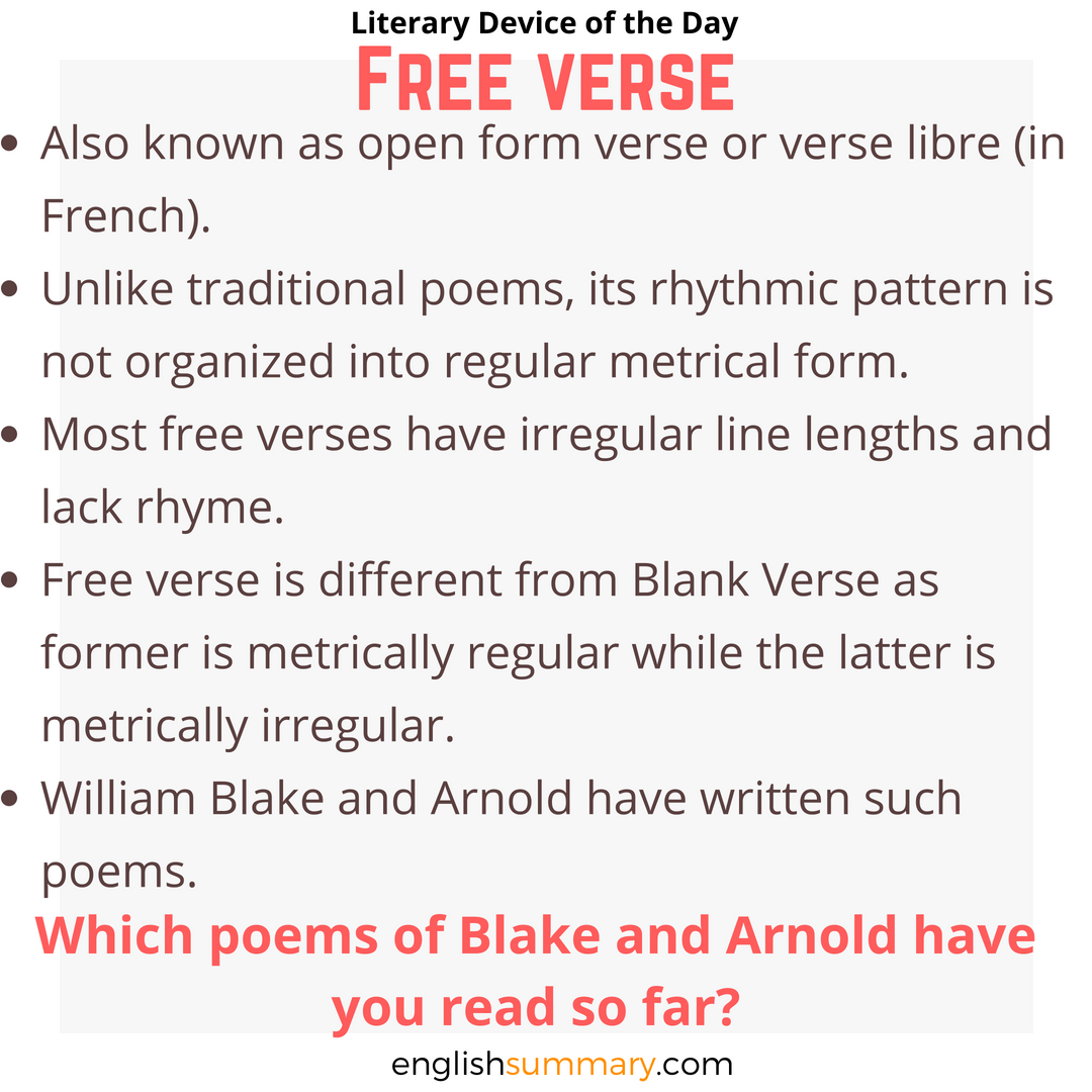 free verse examples in literature