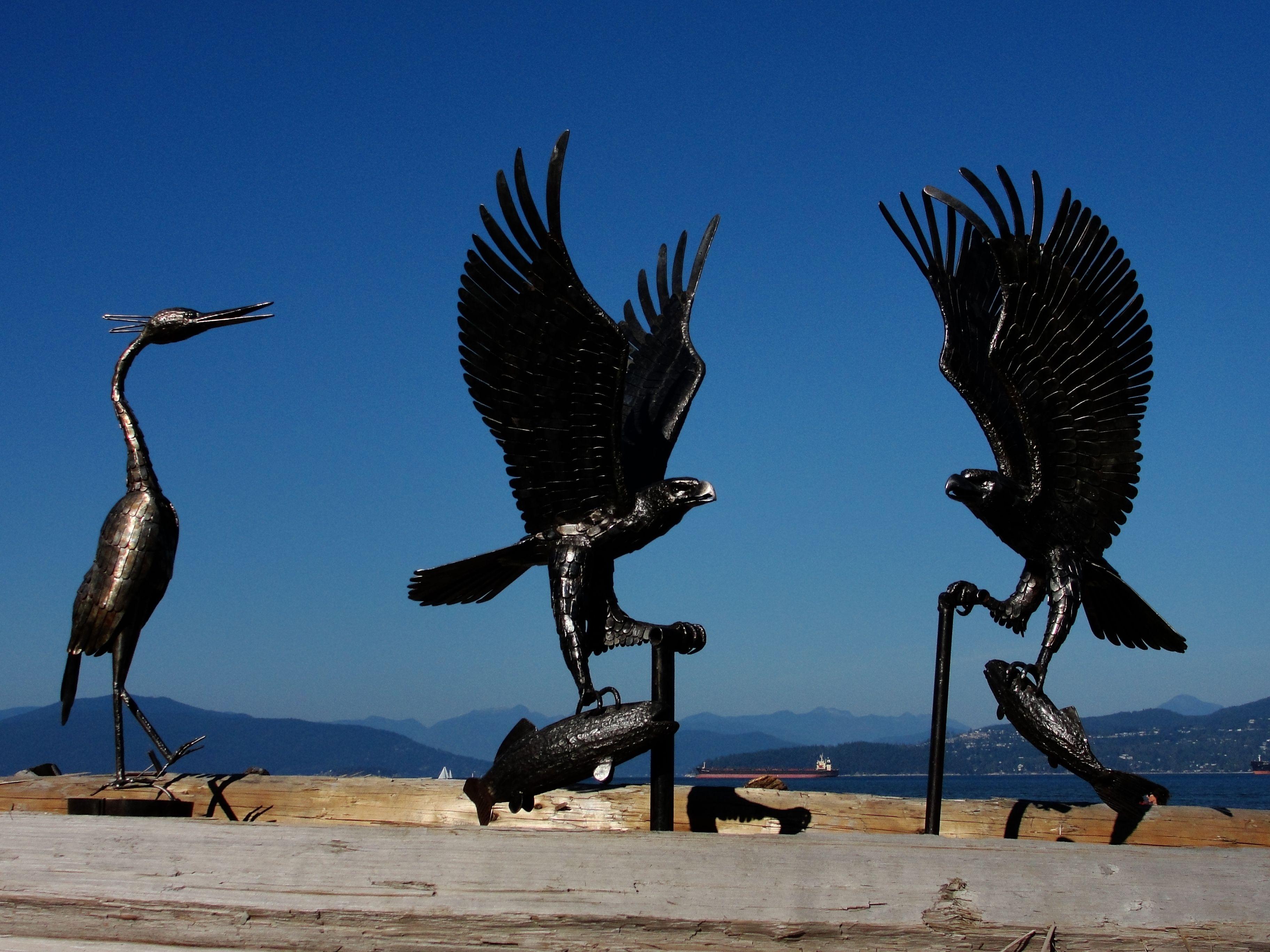 Iron eagles on jericho vancouver metal sculpture