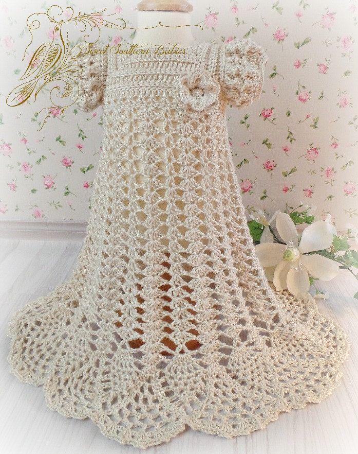 Baby Girls Silk Crochet Baptism / Christening / Blessing Dress ...