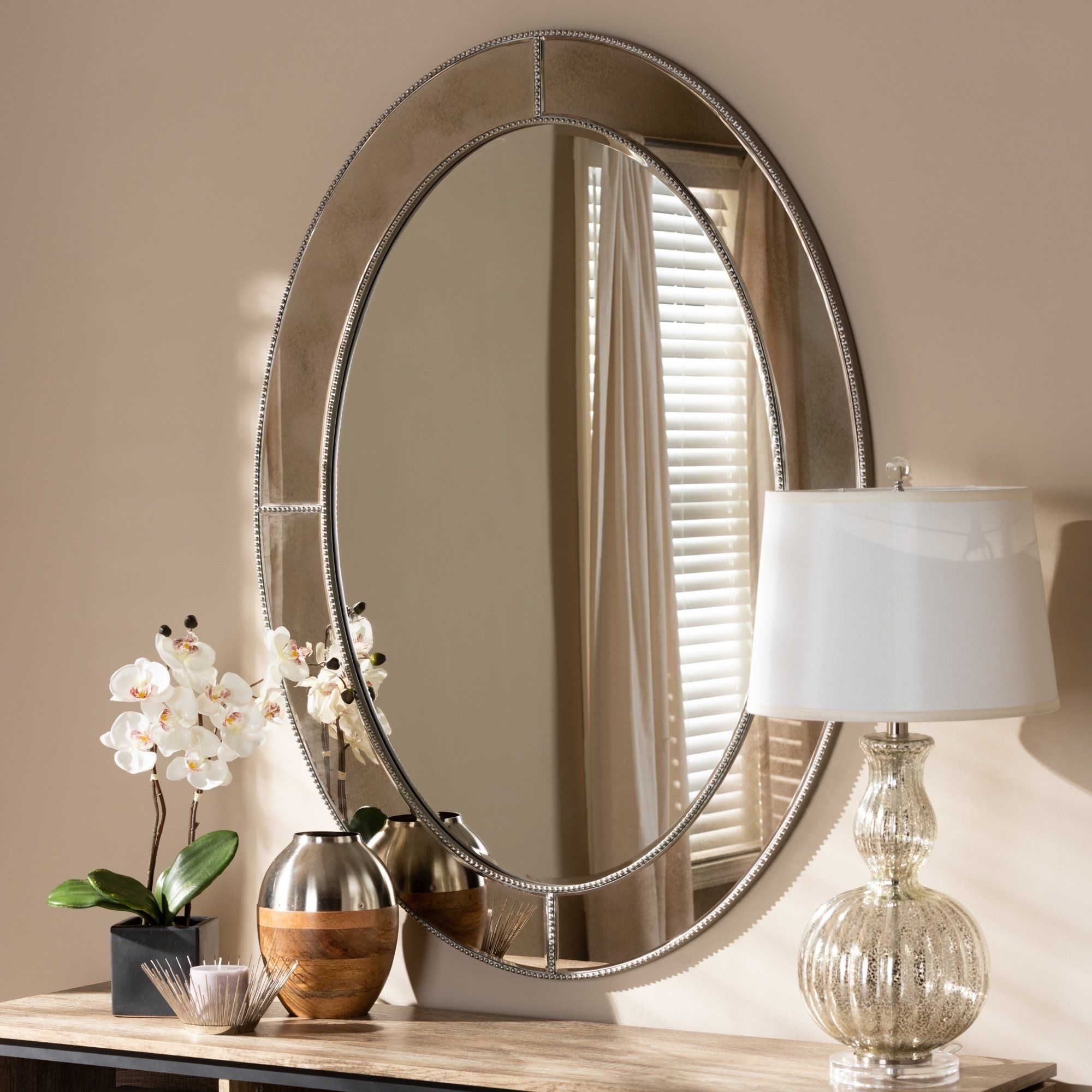 Contemporary Antique Silver Oval Wall Mirror By Baxton Studio
