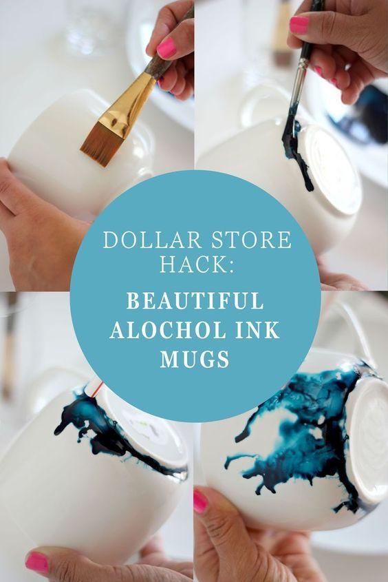 Dollar Store Hack Beautiful Alcohol Ink Glasses Diy Mugs