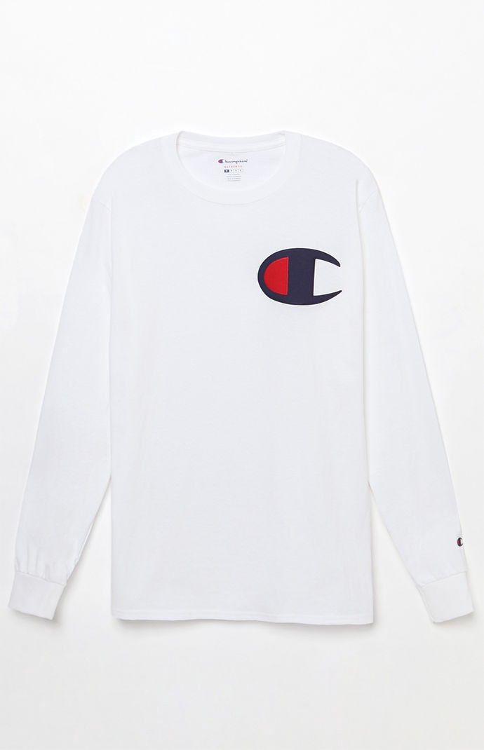 c6cbf51d Champion Big C Applique Long Sleeve T-Shirt - MED | Products ...
