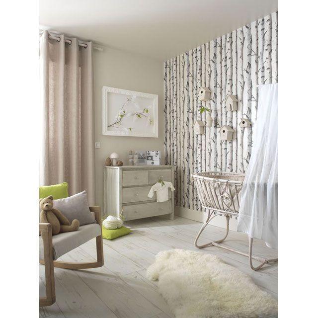 papier peint papier sur papier lutece bouleau beige nacr. Black Bedroom Furniture Sets. Home Design Ideas