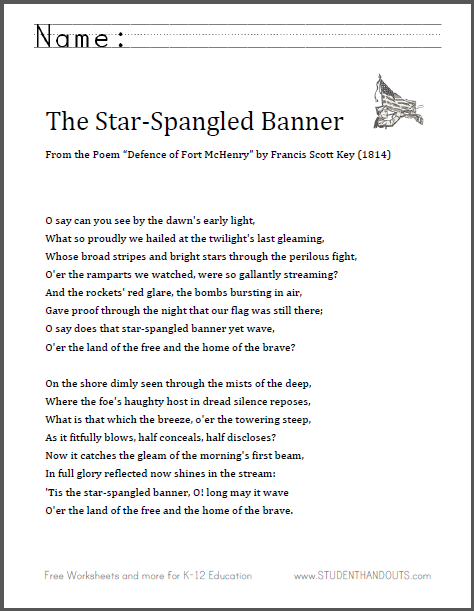 The Star-Spangled Banner - Complete Lyrics - Free to Print ...
