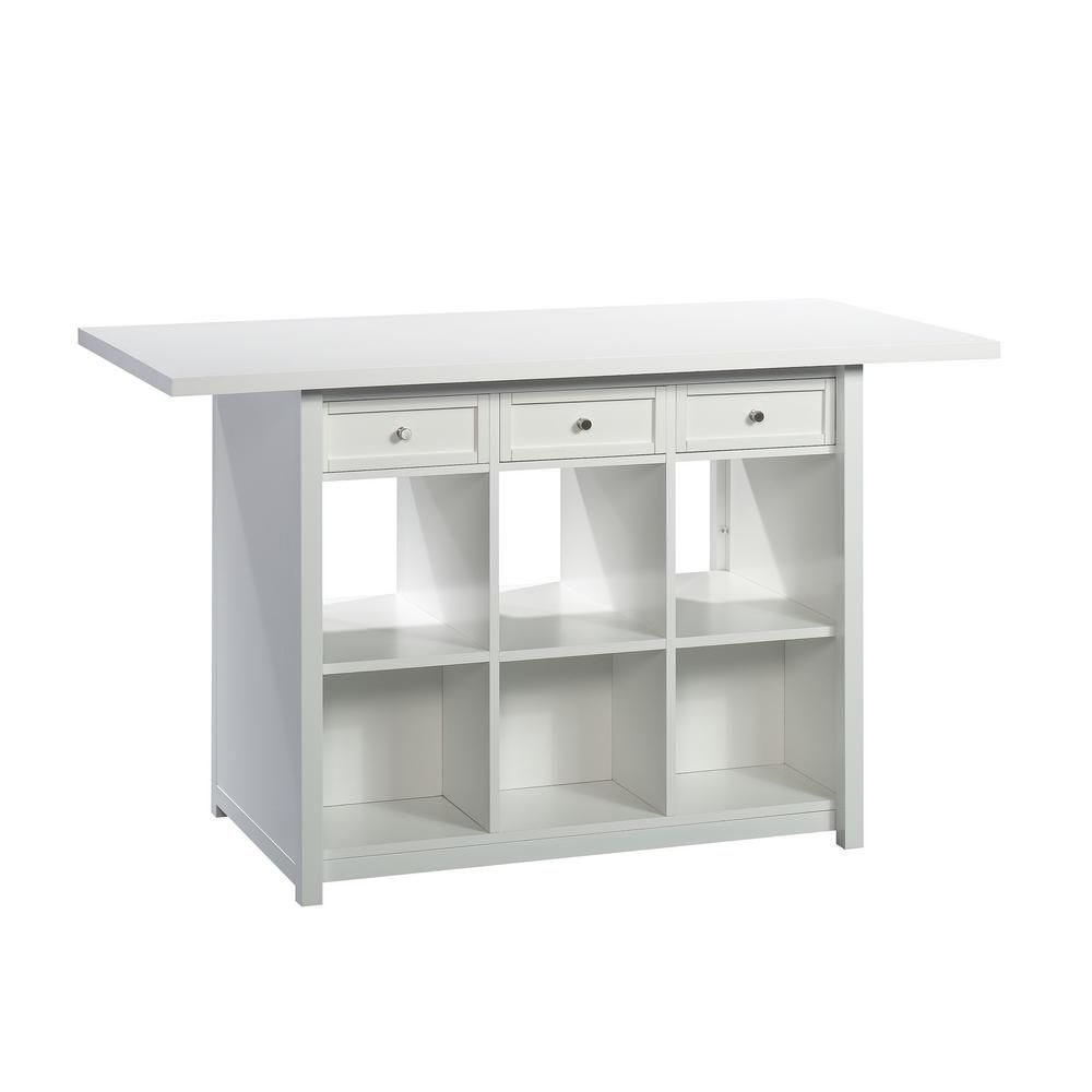 Homevisions White Work Table 425034 Storage Cabinet With Drawers Storage Table