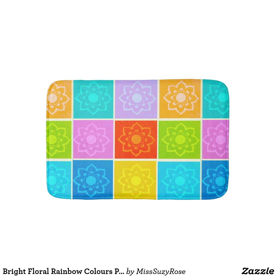 Bright Floral Rainbow Colours Pattern Bath Mat Bright Bath Mats - Bright bath mat for bathroom decorating ideas