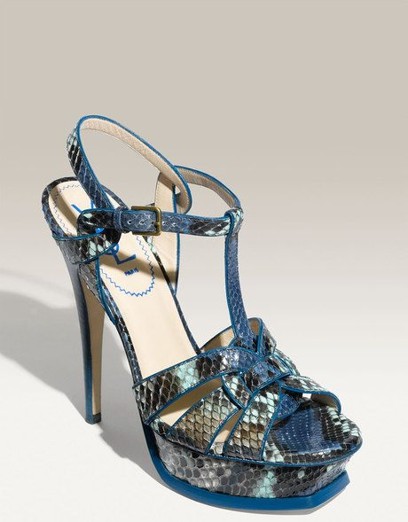 73768fc4716 Yves Saint Laurent Blue Tribute Genuine Python Sandal €740 #Shoes #YSL  #Heels #Snake