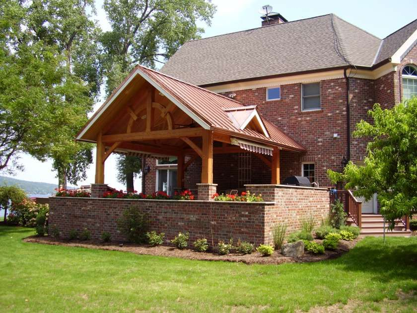 Brick Timber Frame Homes : Timber combines with brick on a large porch custom