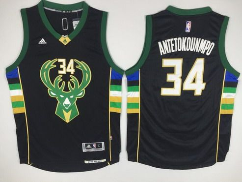 309b1a98906b Men s Milwaukee Bucks  34 Giannis Antetokounmpo Revolution 30 Swingman 2015-16  Black Jersey