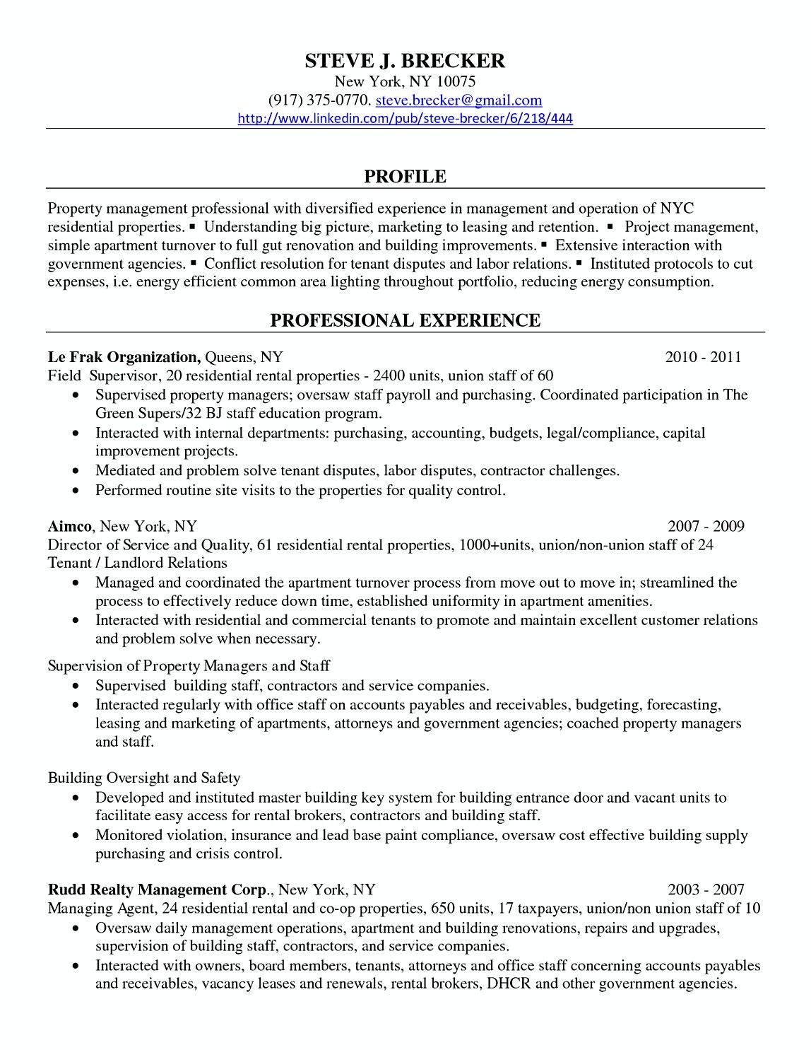 Property Manager Professional Resume Samples  Commercial Property
