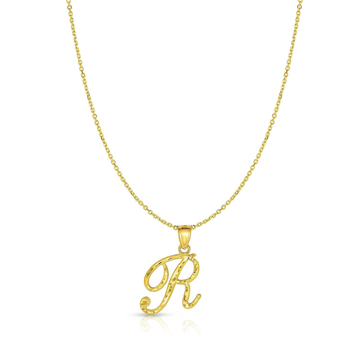 K yellow gold charm pendant necklace w letter az personalized