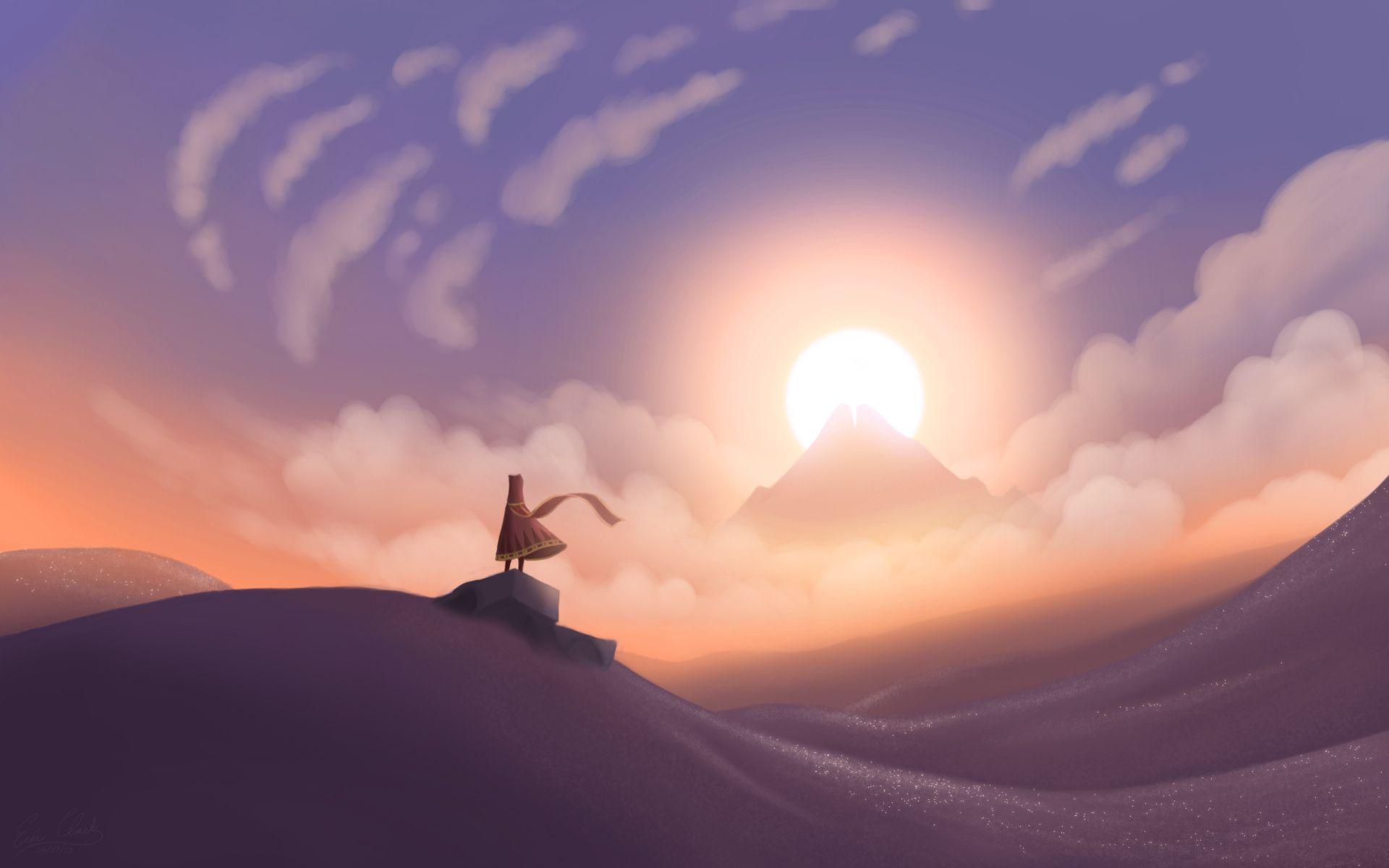 Journey Sunset by sawuinhaff.deviantart.com on @deviantART   Games journey,  Anime scenery, Fantasy landscape