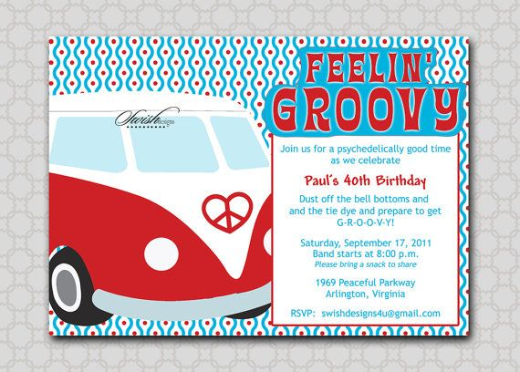Hippy Birthday Invite Vw Bus Bug Invitation Groovy Hippie 60s