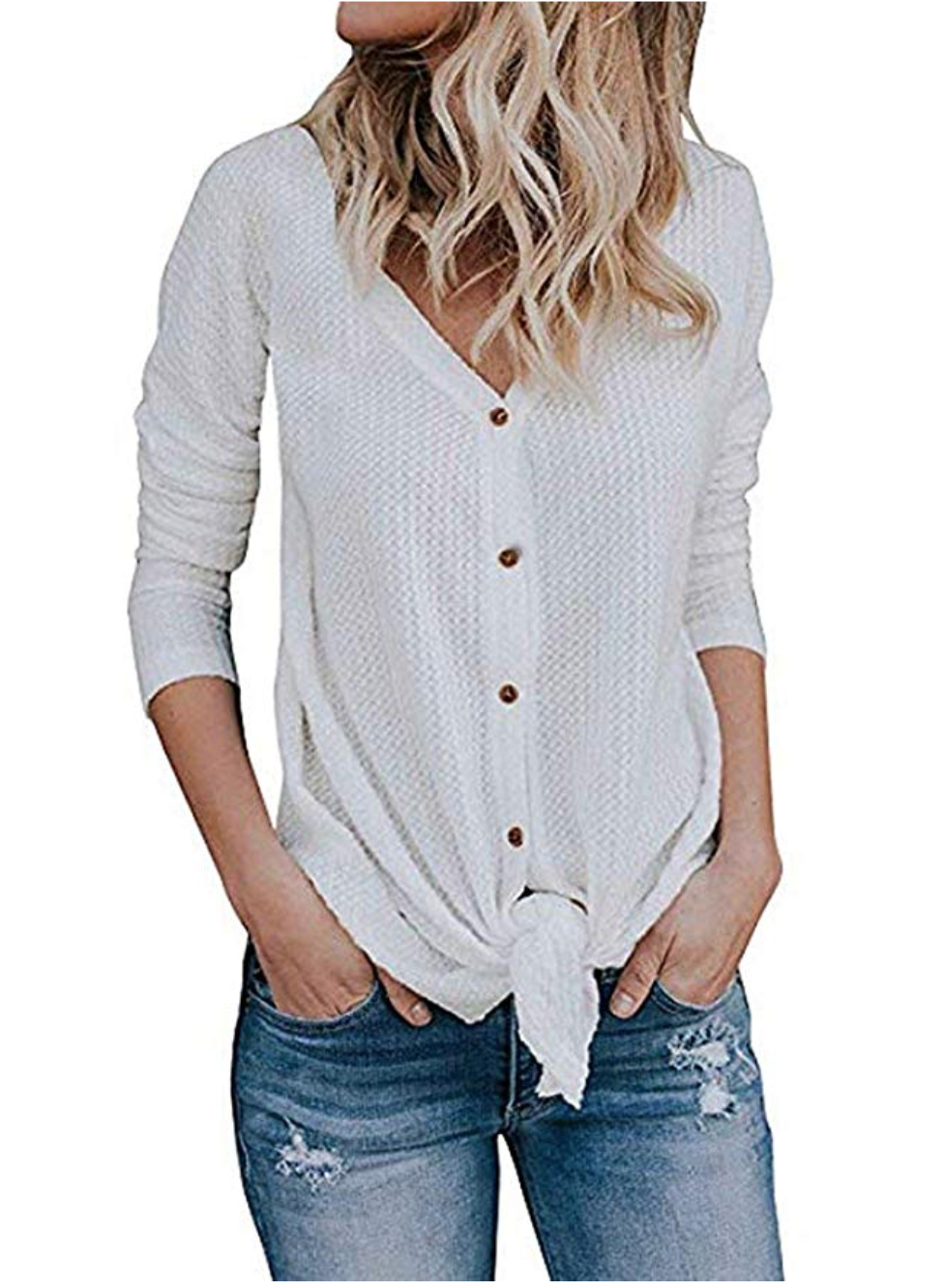 6f15850571760f Button-Up Waffle Knit Tie Top. Button-Up Waffle Knit Tie Top Cardigan  Sweaters ...