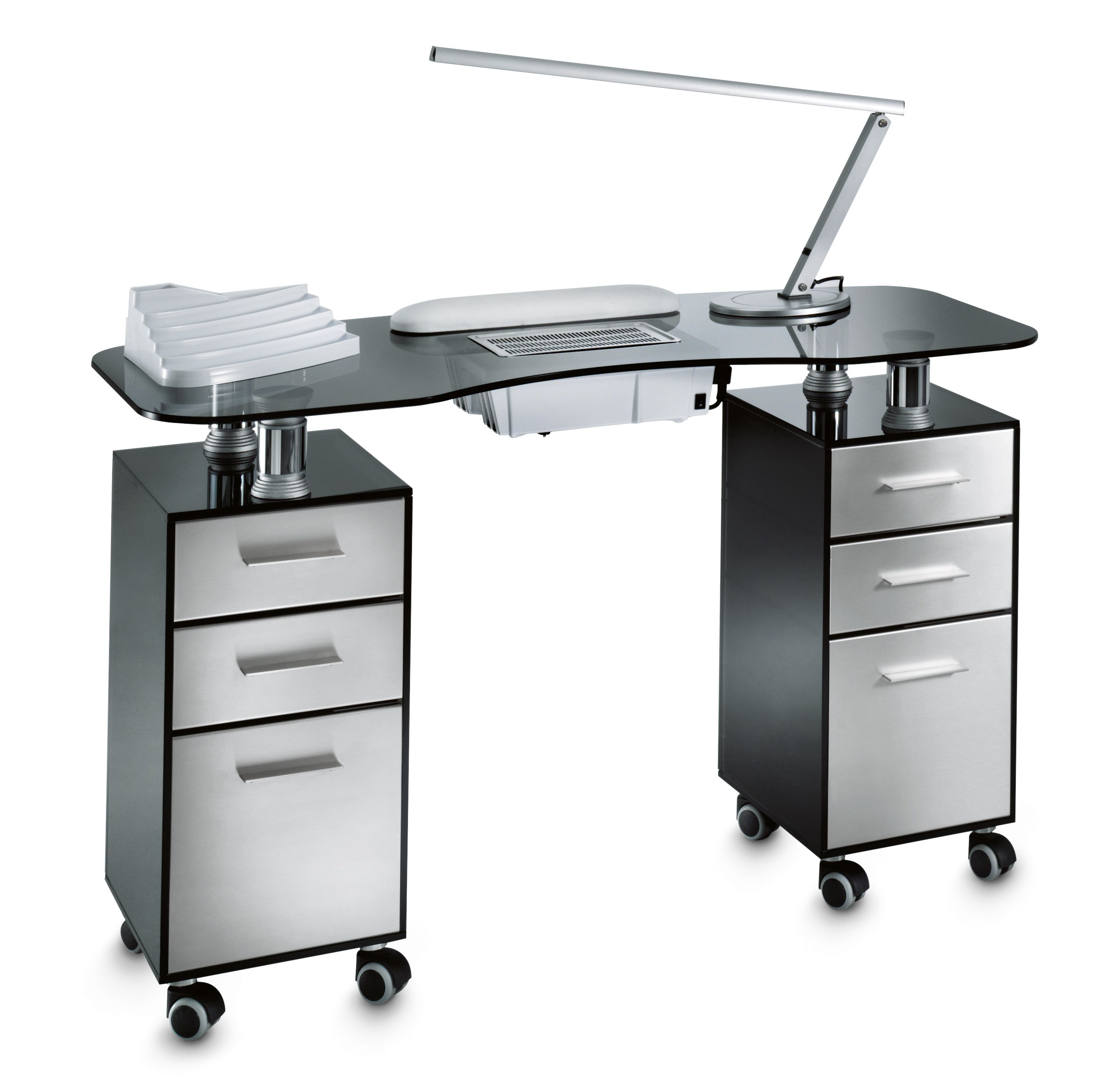 Glass Double Vented Manicure Table. Tempered Gray