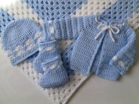 Yellow Set Crochet Baby Blanket with sweater,cap and booties