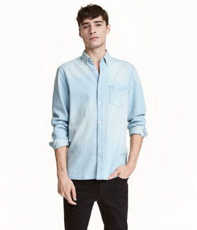 e9cda0713f9a Denim Shirt   Light denim blue   Men   H&M US   Looks for Boyfriend ...
