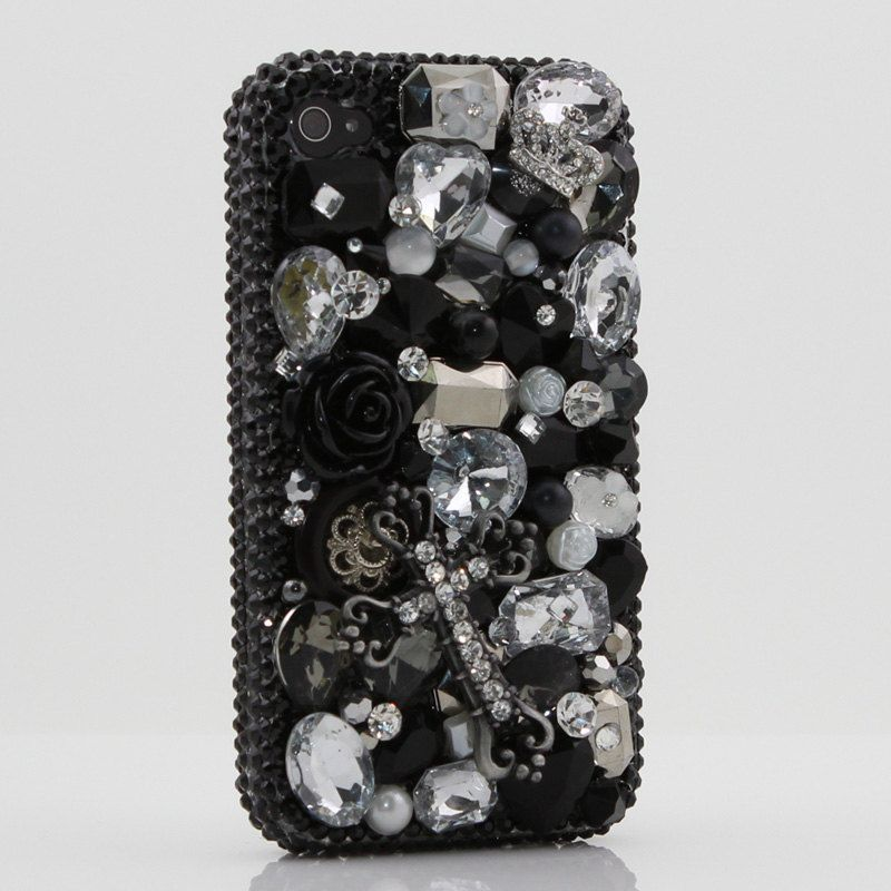 Luxury Swarovski Crystal Diamond Black Cross Bling Case Cover for iphone 4 4s. $79.95, via Etsy.