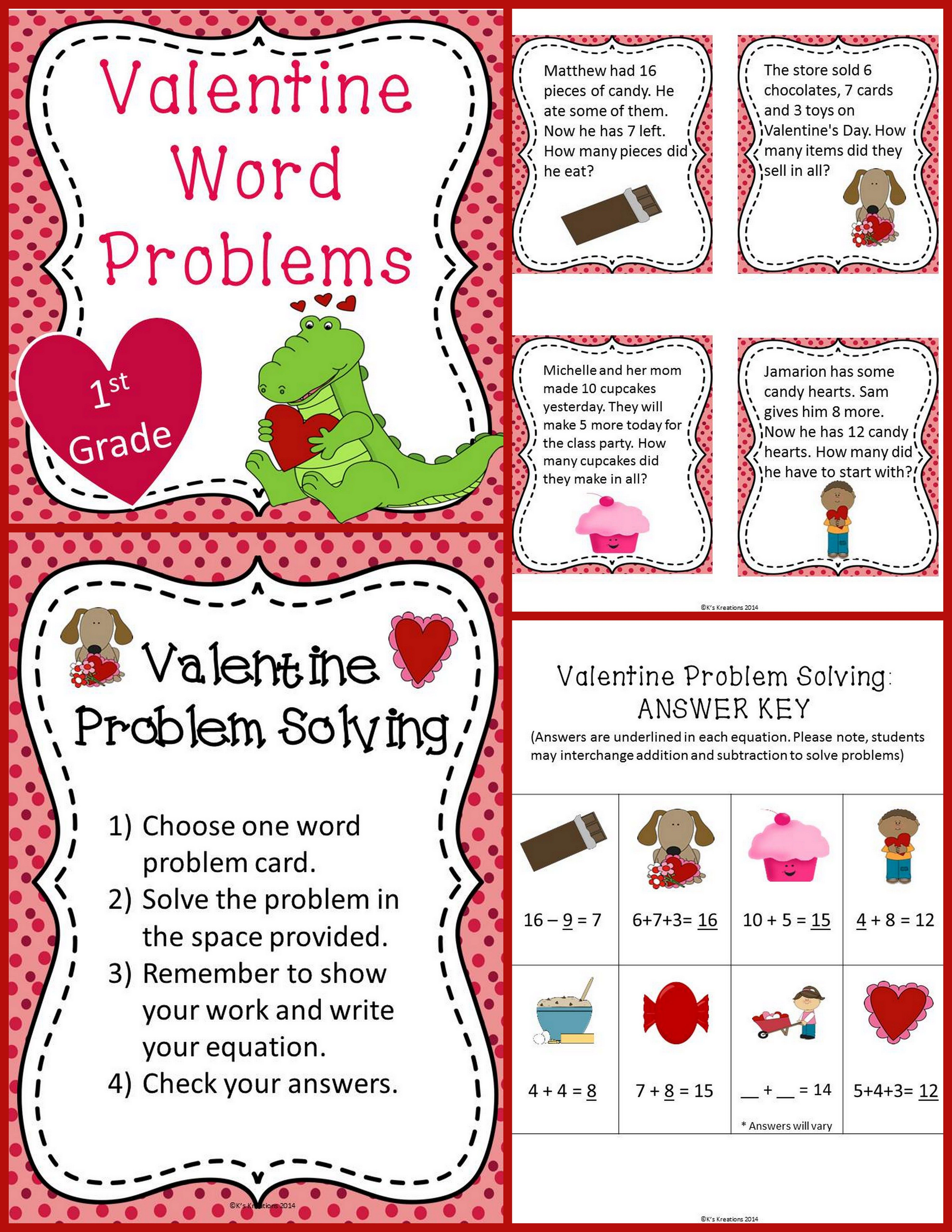 Valentine S Day Word Problems To 20