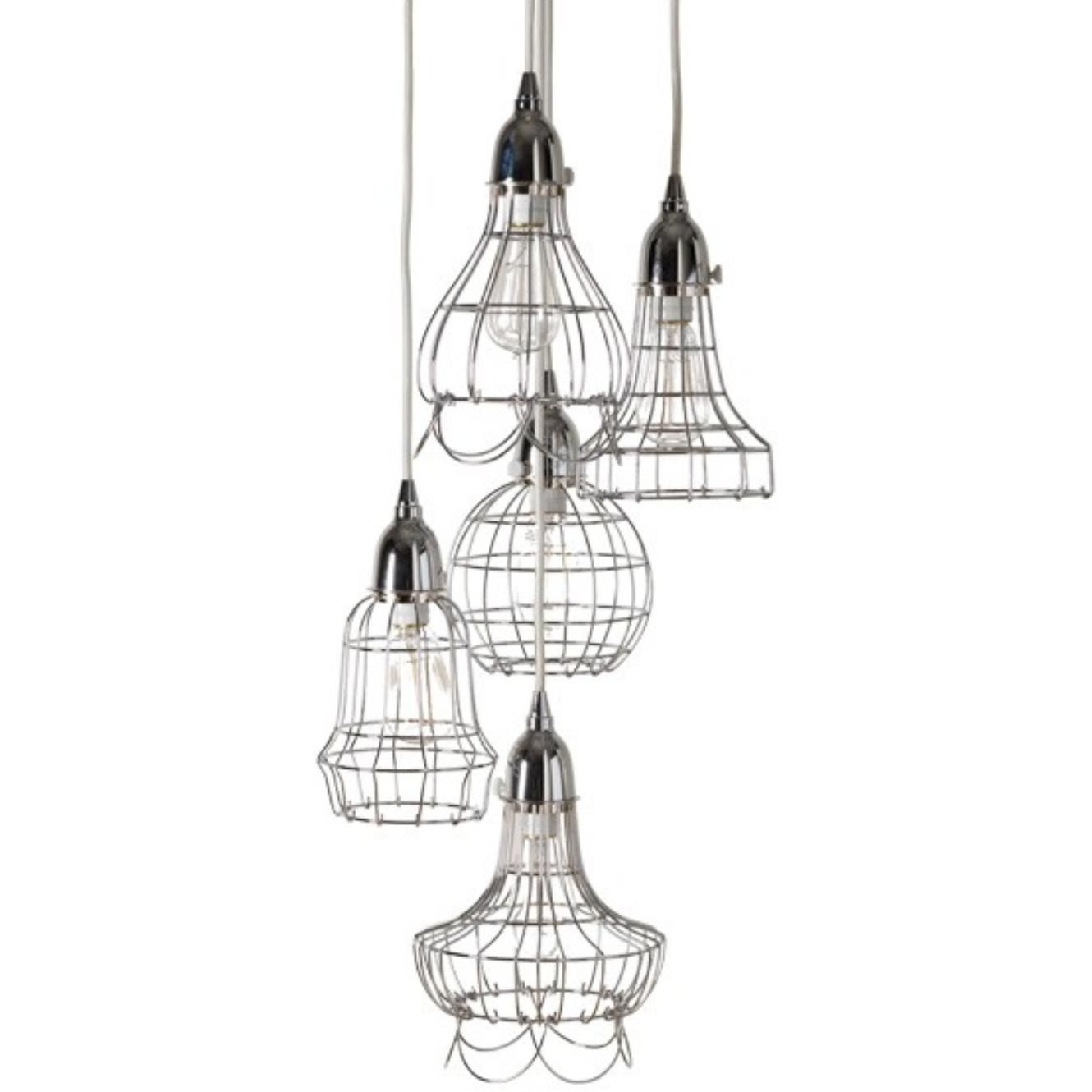 Wire five pendant lamp with silver finish by Lazy Susan. Also ...