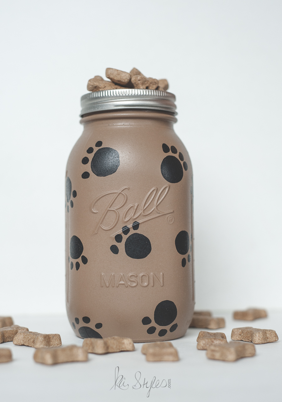 Paw Painted Dog Treat Mason Jar - Sprinkled and Painted at KA Styles.co