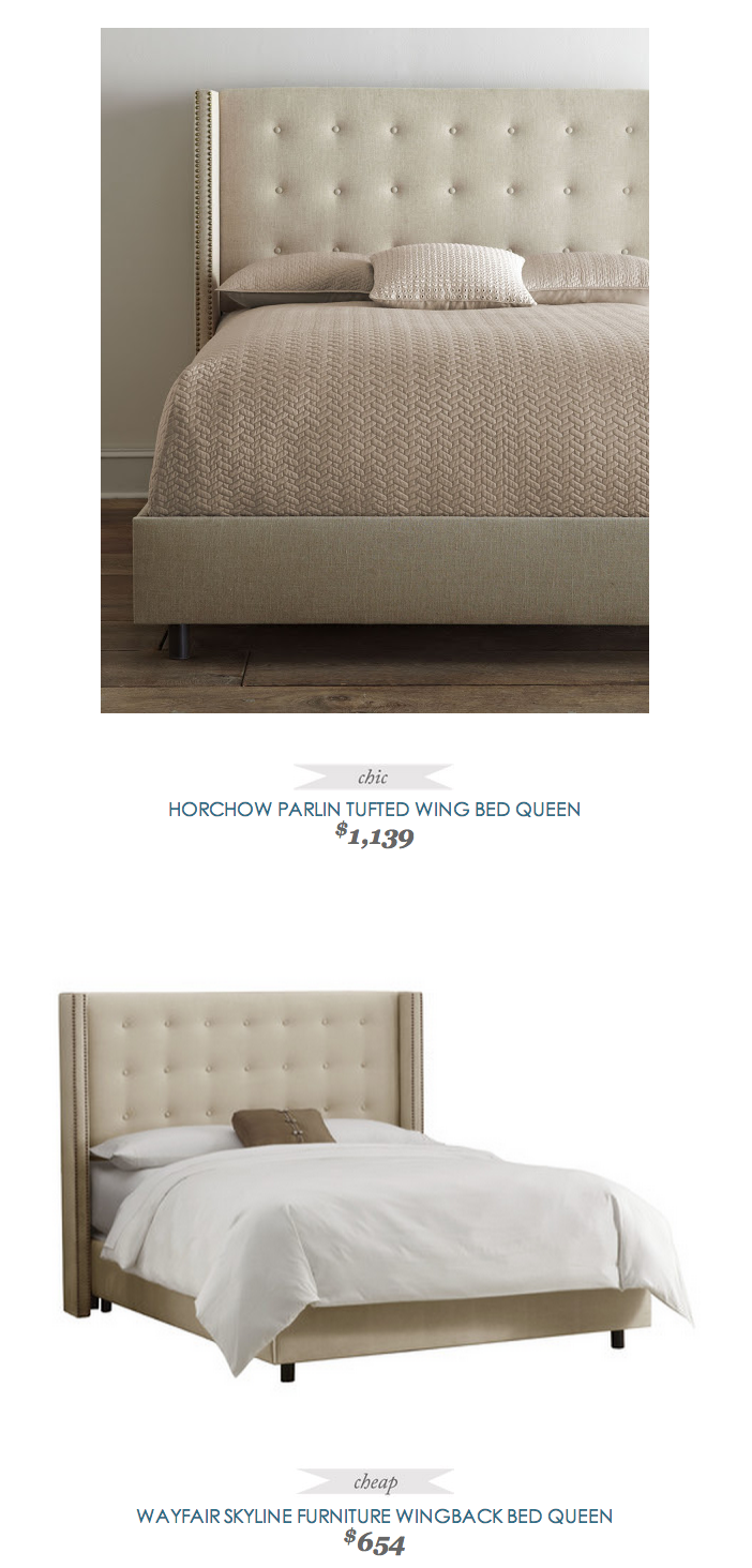 Horchow Parlin Tufted Wing Bed