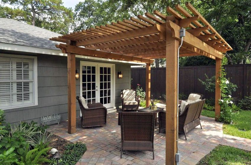 Gentil Wood Pergola Kit On Small Paver Patio