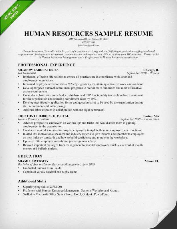 Human Resources (HR) Resume Sample & Writing Tips | Human ...