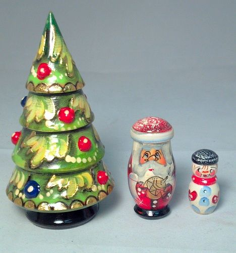 Christmas Tree With Ornaments 3 Piece Russian Handcrafted Wooden