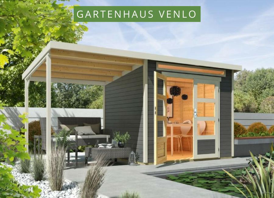 Wolff Flachdach Gartenhaus Venlo mit Schleppdach