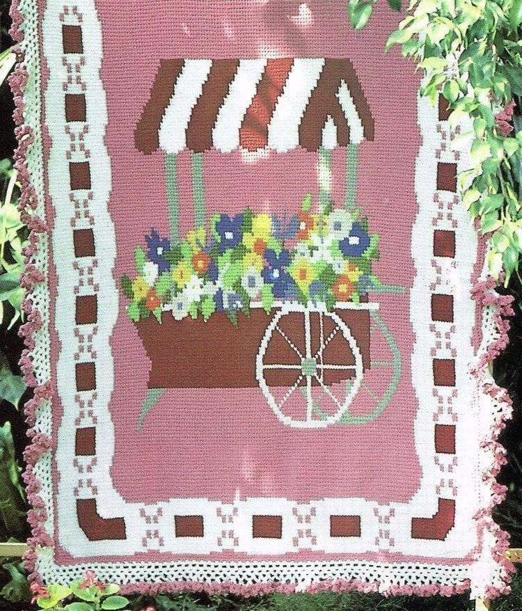Flower Cart Afghan Crochet Pattern Blanket Throw Instructions
