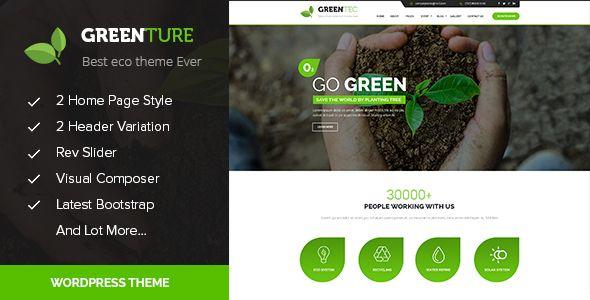 Greenture – Environment / Non-Profit WordPress Theme | Pinterest