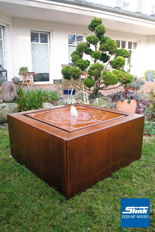 Cortenstahlbrunnen Cortenstahl-Kubus-Tisch Rostdeko Pinterest - gartenbrunnen modernes design