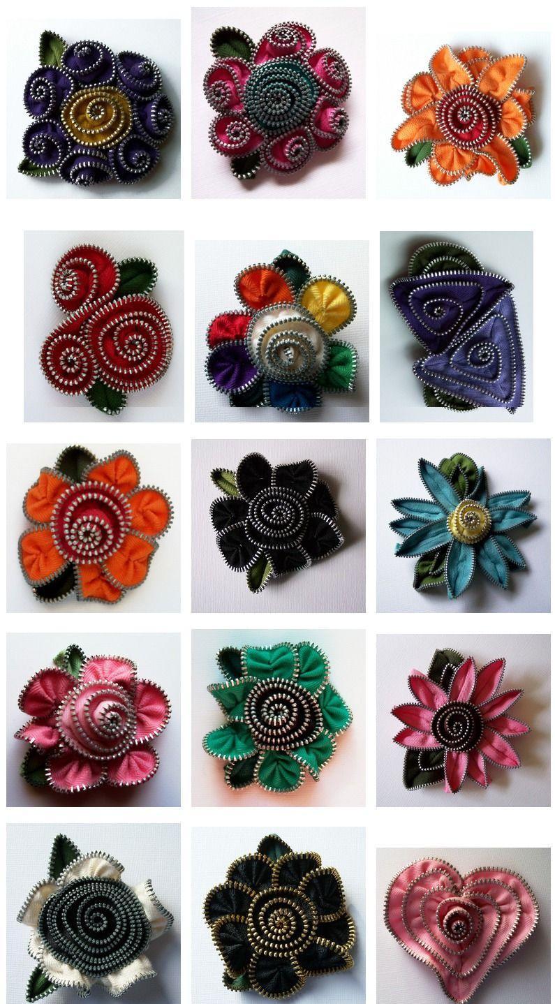 How To Make Zipper Flower With Images Zipper Flowers Zipper