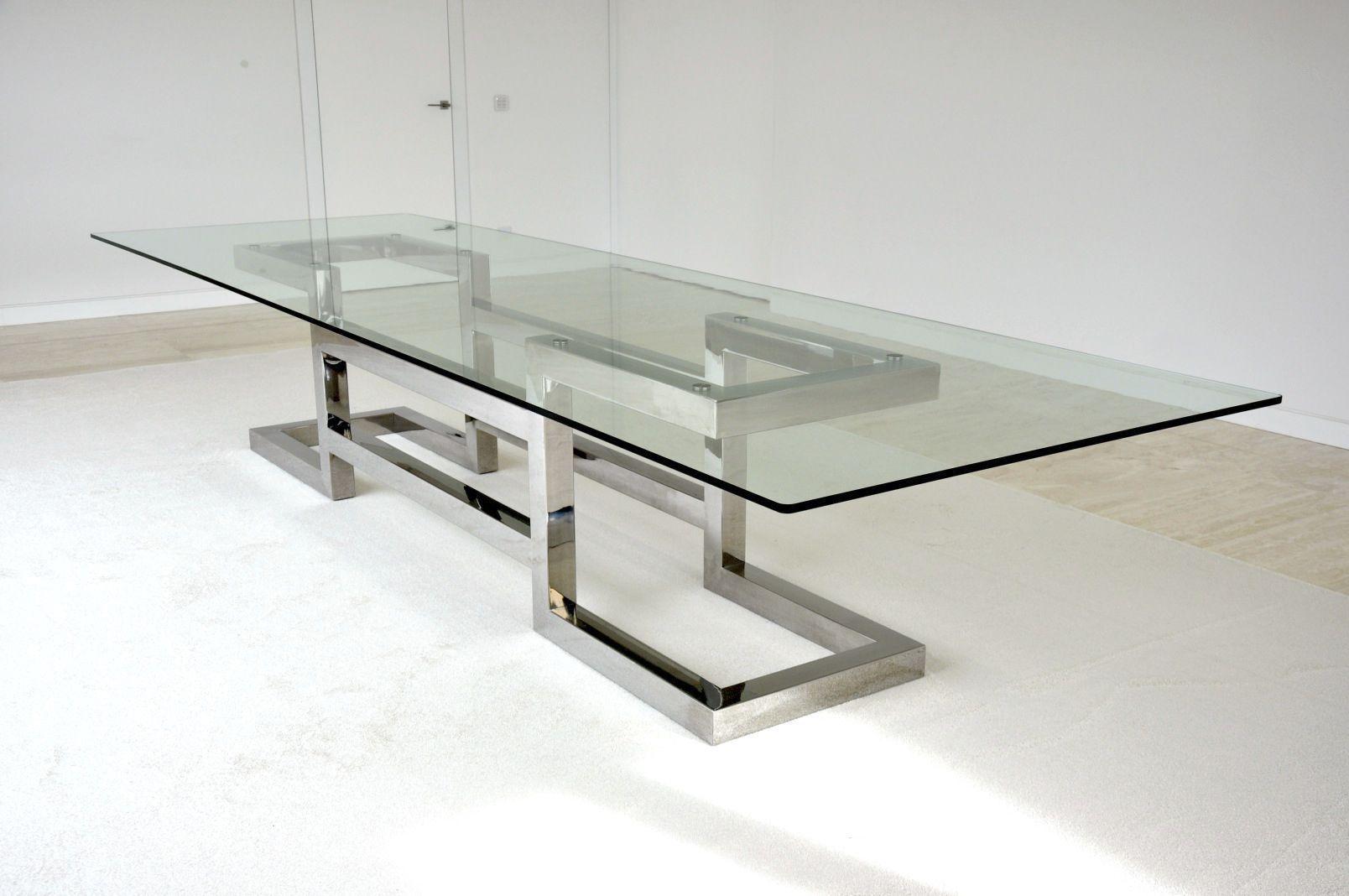 Mesa de reuniones moderna de cristal de hierro lisa - Mesas modernas de cristal ...